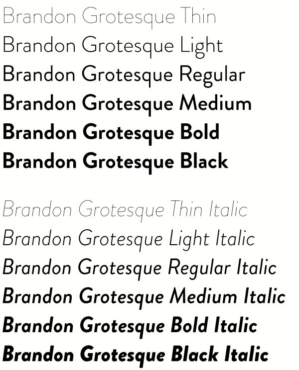 Brandon Grotesque Typefamily by HVD Fonts