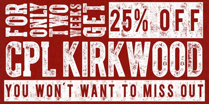 CPL Kirkwood - distressed typeface by Kimmy Kirkwood