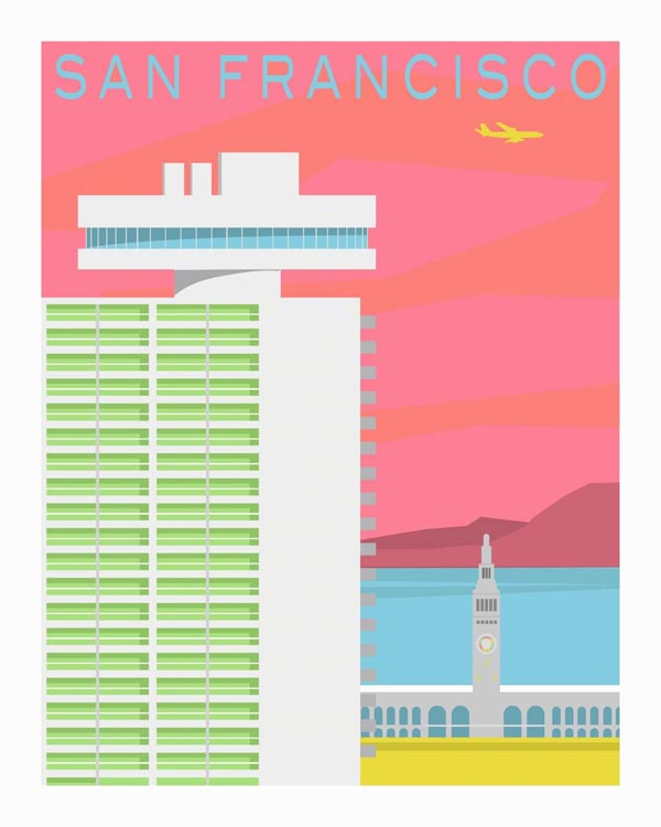 Embarcadero - Forgotten Modernism of San Francisco's Architecture - Vector Illustration by Michael Murphy