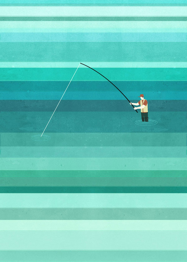 Fishing Wall Illustration by Alessandro Gottardo