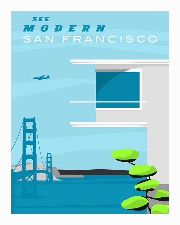 Forgotten Modernism - San Francisco Retro Vector Illustration by Michael Murphy