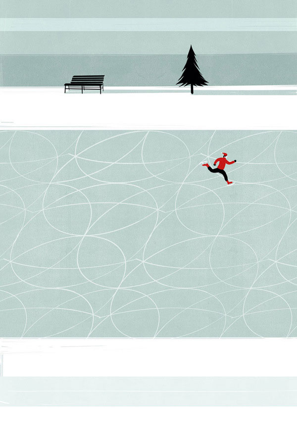 Ice Skate Wall Illustration by Alessandro Gottardo
