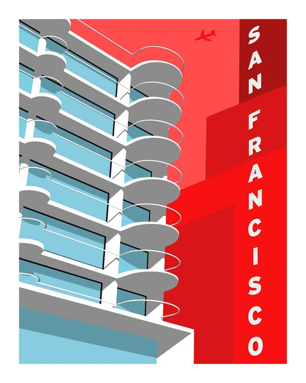 Mendelsohn Modern - Forgotten Modernism of San Francisco's Architecture - Vector Illustration by Michael Murphy