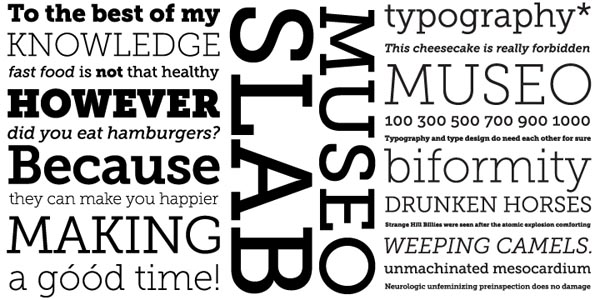 Some type samples in different weights of the Museo Slab font family by type designer Jos Buivenga.