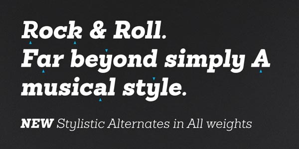 Sánchez Serif Font stylistic alternates in all weights