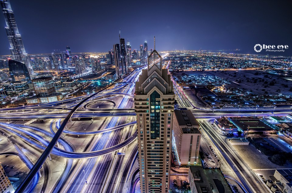 Sheikh Zayed Road - Dubai at Night by Bee Eye Photography