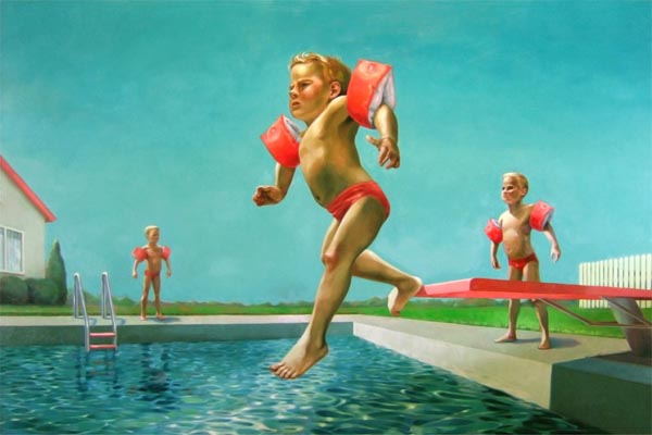 Swimming Lessons - Painting by Robin F Williams