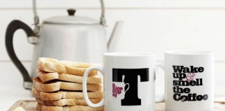 Tesco - typographic mugs by studio Glad
