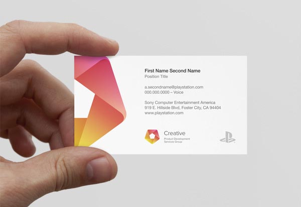 Corporate design of sony playstations us based creative services group business card for sony playstations us based creative services group reheart