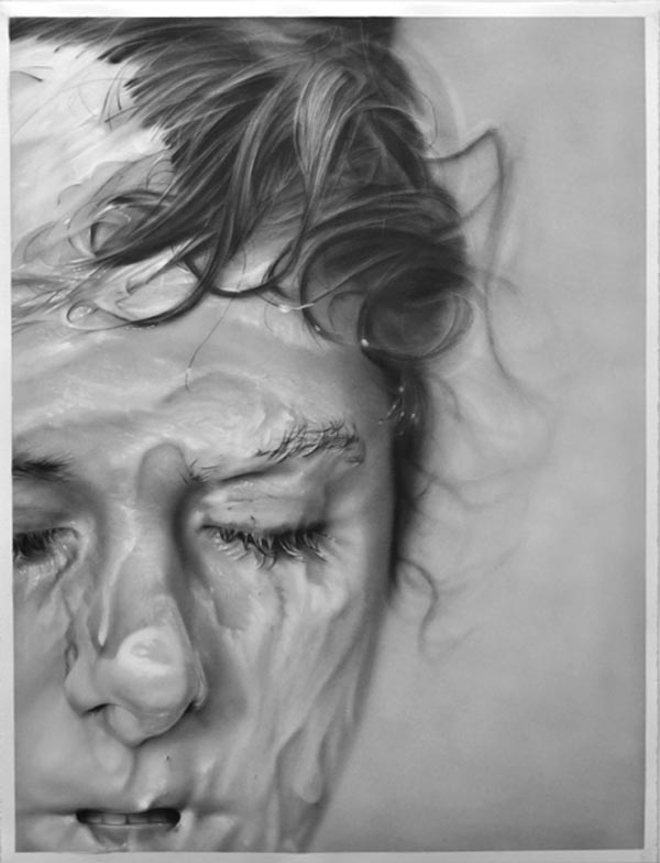 Slathered, graphite on paper drawing by Melissa Cooke