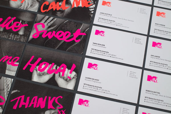 MTV unique staff member business cards by Motherbird