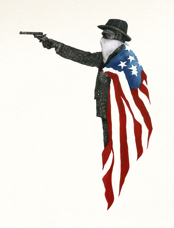 AMERICAN GUN - ink and watercolor on paper by TIPI THIEVES