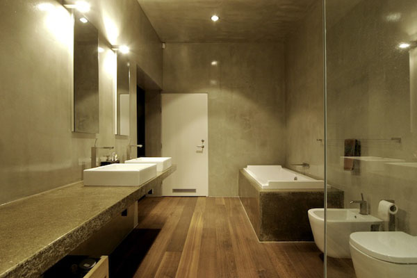 Bathroom of the Utriai Residence in Lithuania by Natkevicius & Partners