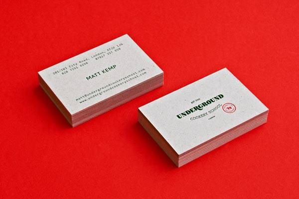 Business Cards for Underground Cookery School by Two Times Elliott