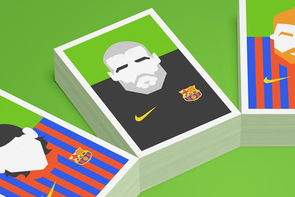 FC Barcelona Re-Vision Illustrated Postcards by Forma & Co