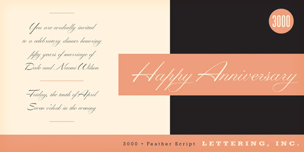 Feather Script - handwritten font from the mid 1940s