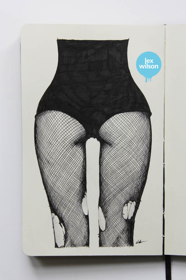 Fishnets II - Moleskine Illustration by Lex Wilson