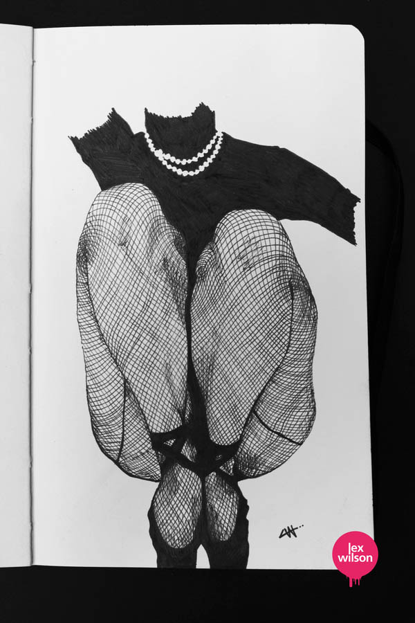 Fishnets - Moleskine Illustration by Lex Wilson