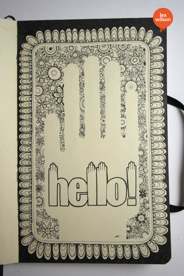 Hello - Moleskine Illustration by Lex Wilson