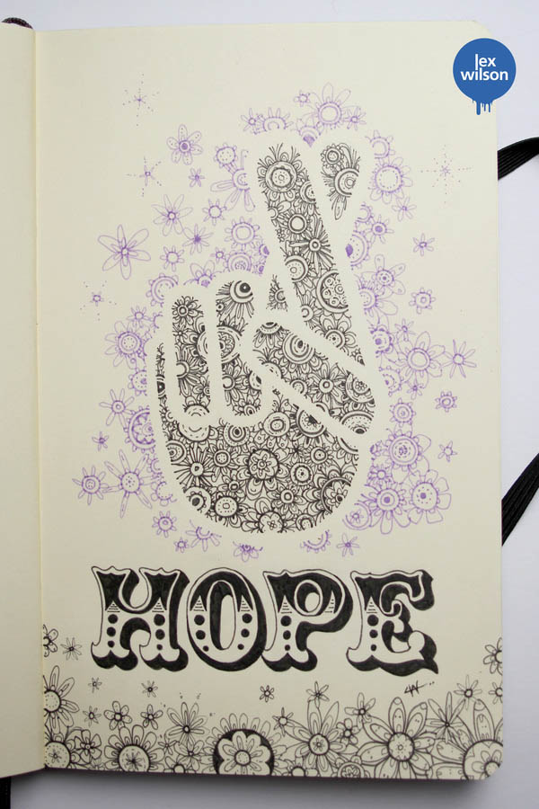 Hope - Moleskine Illustration by Lex Wilson