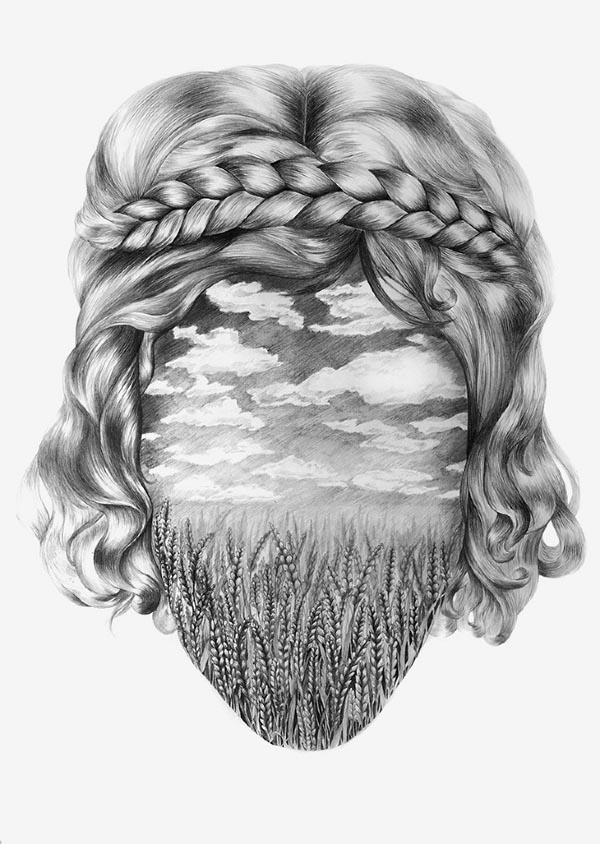Into the Nature Surreal Portrait Drawing by Eika