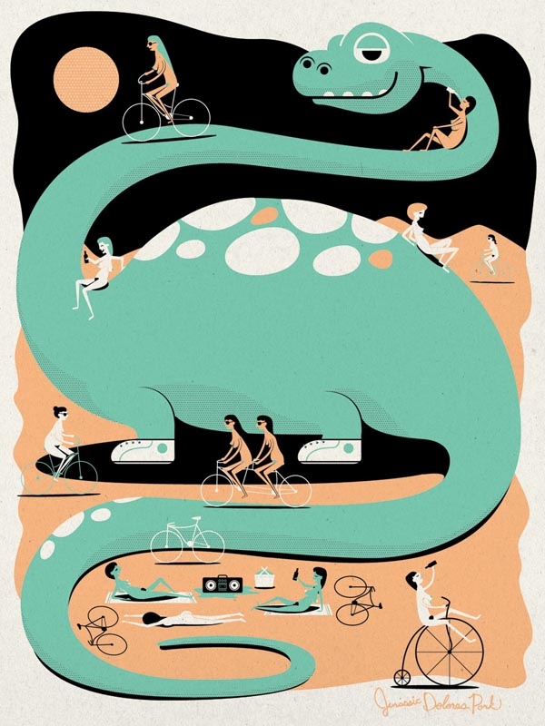 Jurassic Bike Park - for ArtCrank 2012 - Poster Illustration by I Shot Him
