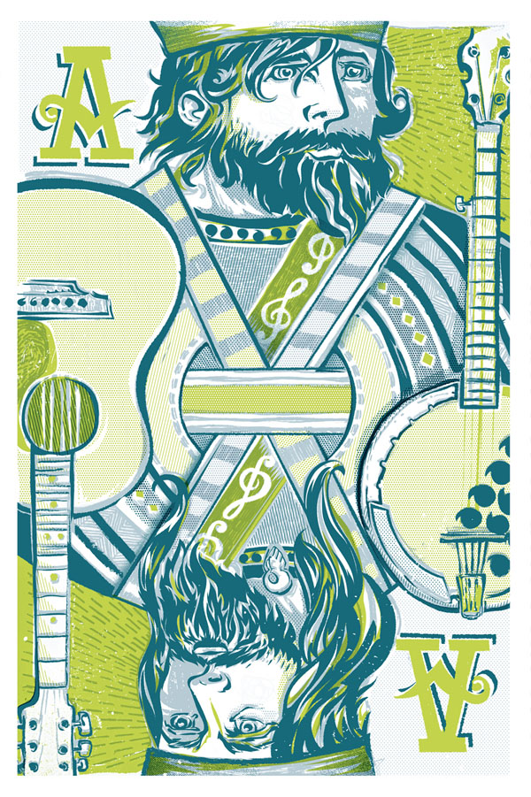 Kings of Bluegrass - Self-Initiated 3 color poster illustration by Reedicus