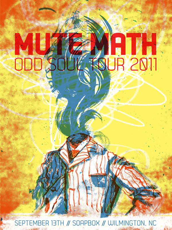 Mute Math - 3 color screen print illustration by Reedicus