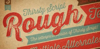 Thirsty Script Rough - Texture Vintage Font from Yellow Design Studio