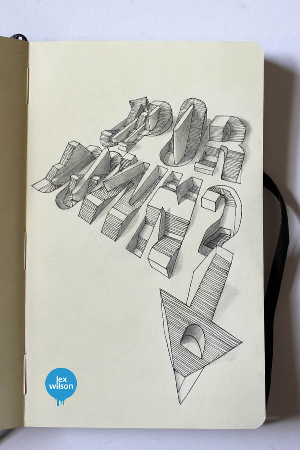 Up or Down - 3D text Moleskine Illustration by Lex Wilson