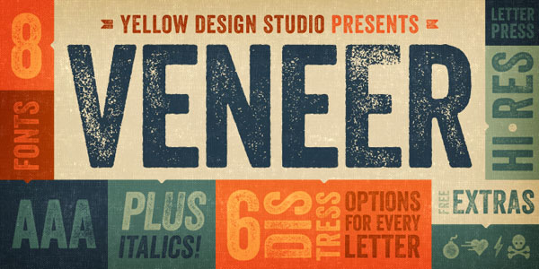 Veneer font, a vintage hand-crafted letterpress font from Yellow Design Studio