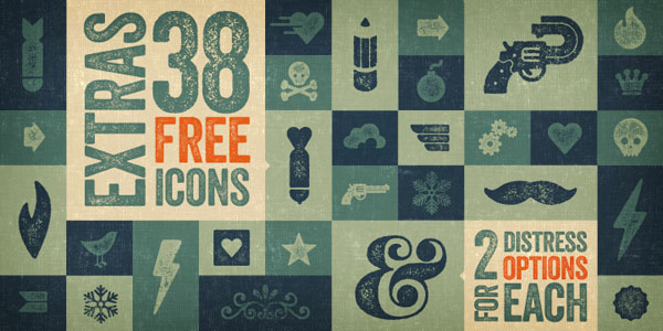 The Veneer font family comes with several extras and 38 free icons as well as 2 distressed options.
