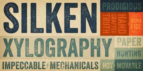 Type samles of the Veneer vintage font font.