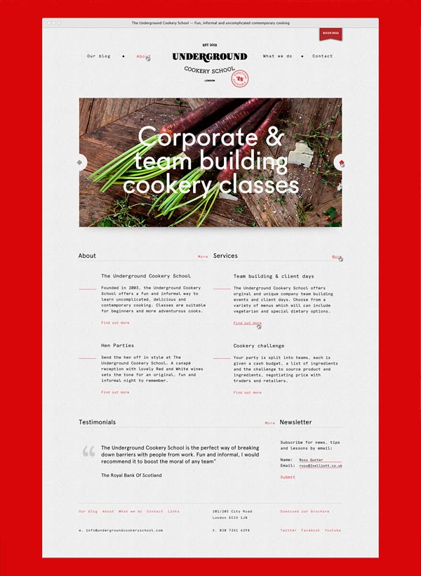 Web Design for Underground Cookery School by Two Times Elliott