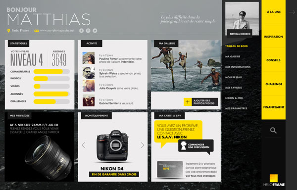 Yellow Frame - Social Photography Network - Interactive Design by Thomas Ciszewski