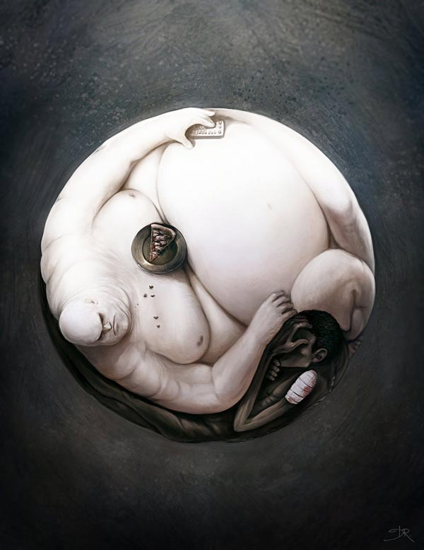 Yin Yang of World Hunger - Digital Painting by Deevad
