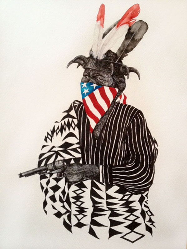 All American Thief - ink on paper artwork by TIPI THIEVES