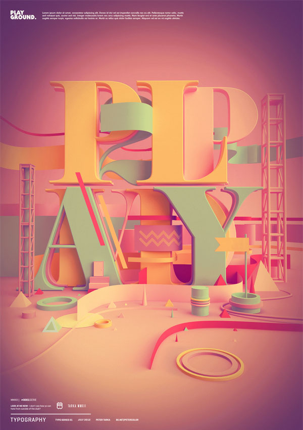 3D Typographic Digital Artworks by Peter Tarka