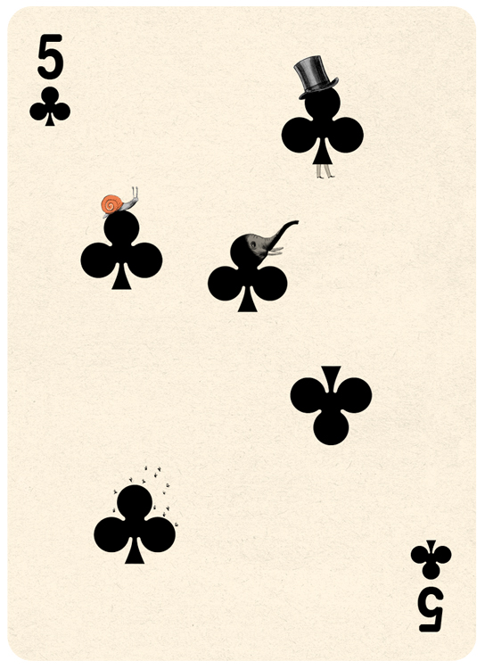 5 Clubs Playing Card Illustration by Jonathan Burton