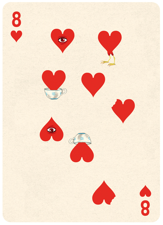 8 Hearts Playing Card Illustration by Jonathan Burton