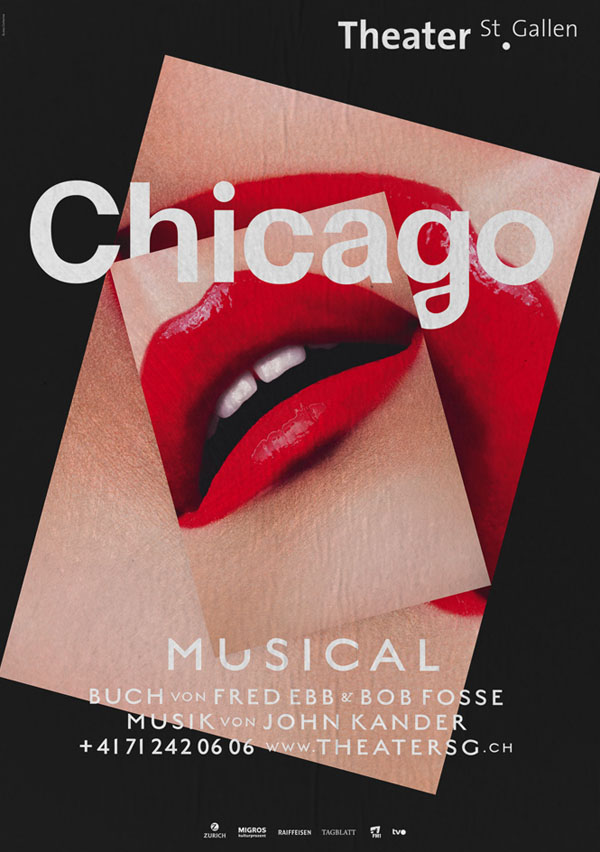 graphic design by bureau collective for the chicago musical at theater st gallen. Black Bedroom Furniture Sets. Home Design Ideas