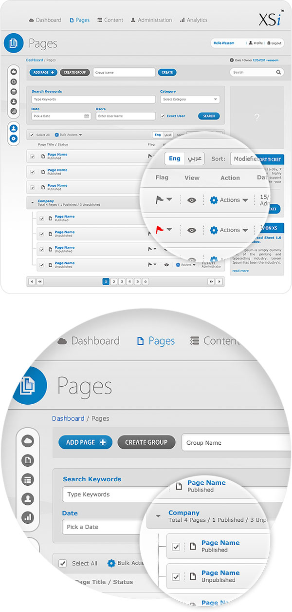 CMS - User Interface Design by Waseem Arshad - pages