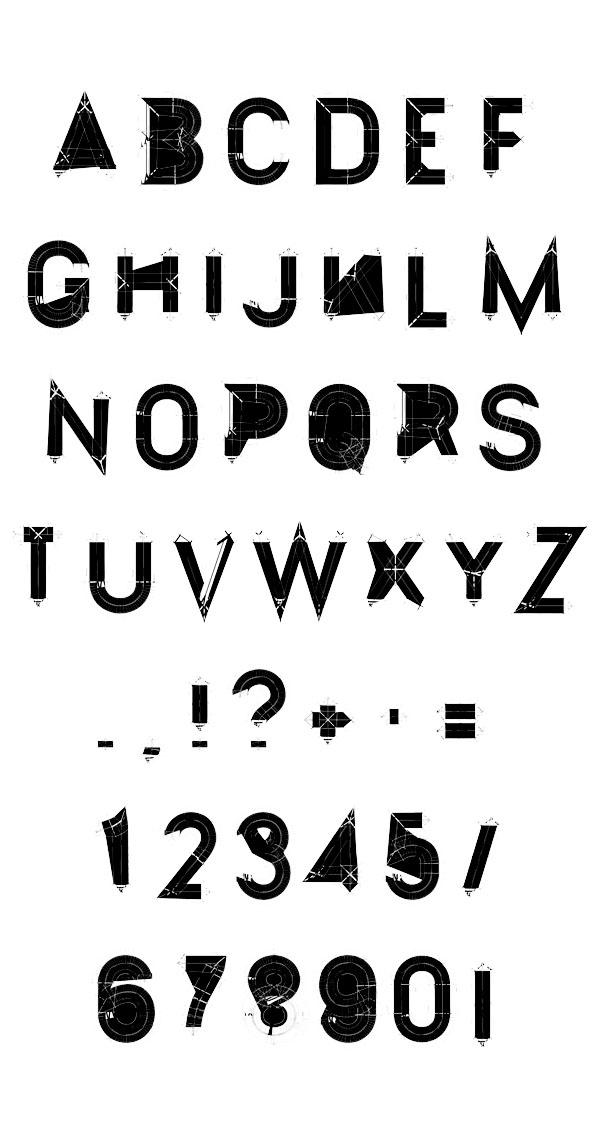 experimental typeface deconstruct by atelier olschinsky. Black Bedroom Furniture Sets. Home Design Ideas