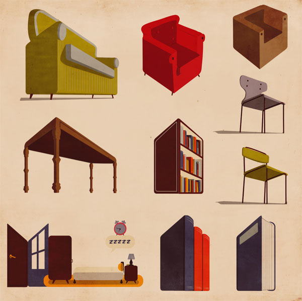 Furniture Illustrations by Giordano Poloni for Infographics