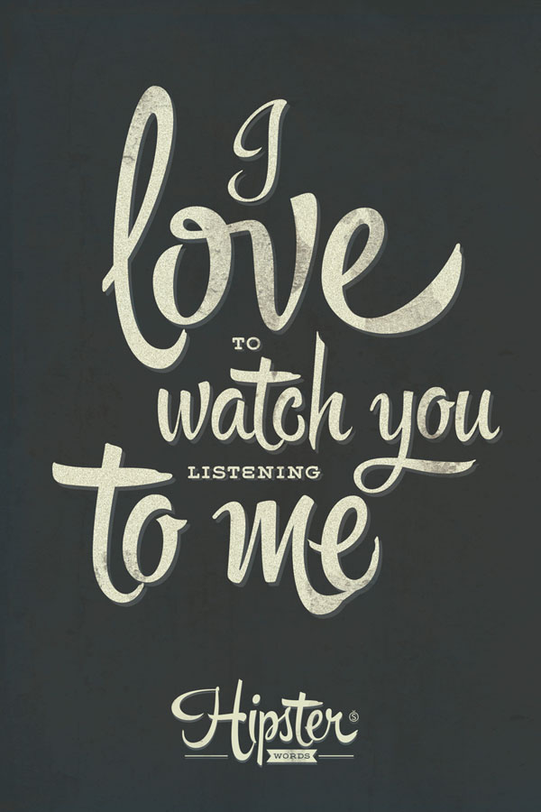 I love to watch you listening to me. A handmade font full of extravagant aesthetics.