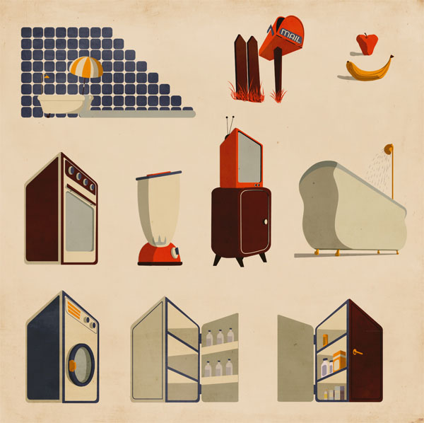 Household Illustrations by Giordano Poloni for Infographics