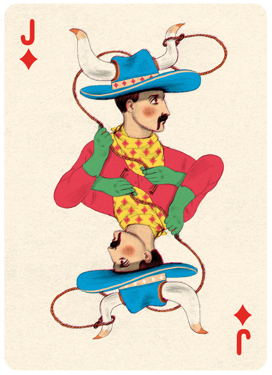Jack Diamonds Playing Card Illustration by Jonathan Burton