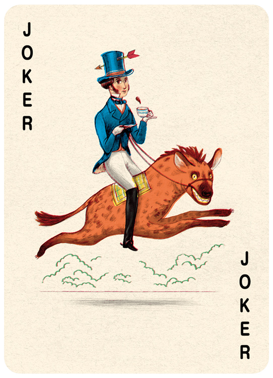 Joker Black Playing Card Illustration by Jonathan Burton