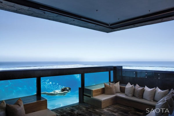 Glass Pool of the St Leon 10 in Bantry Bay, Cape Town by SAOTA and Antoni Associates
