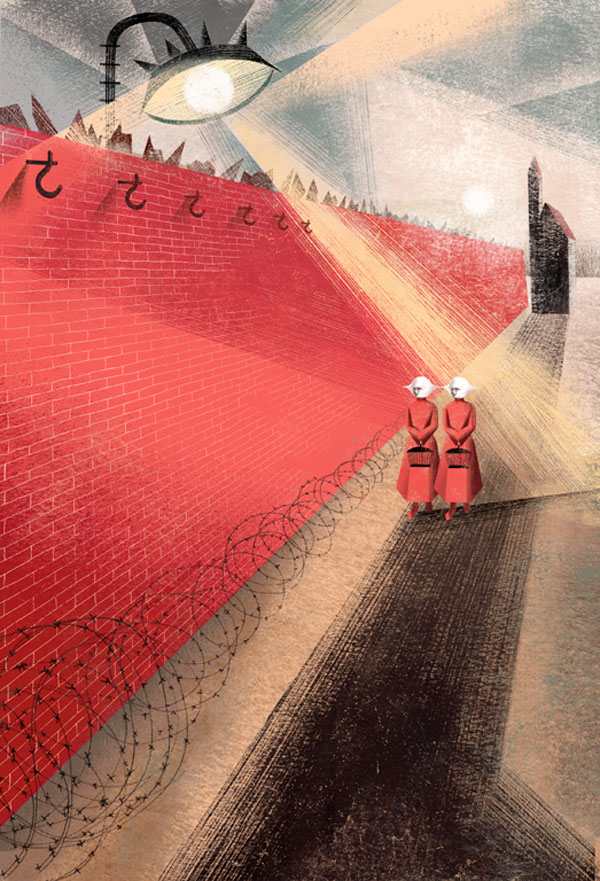 Red Wall - Illustration by Balbusso Sisters for The Handmaid's Tale by Margaret Atwood